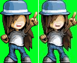 An example of a sprite being distorted from being saved as a JPEG